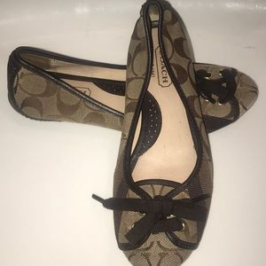Coach flat slip on shoes brown size 5